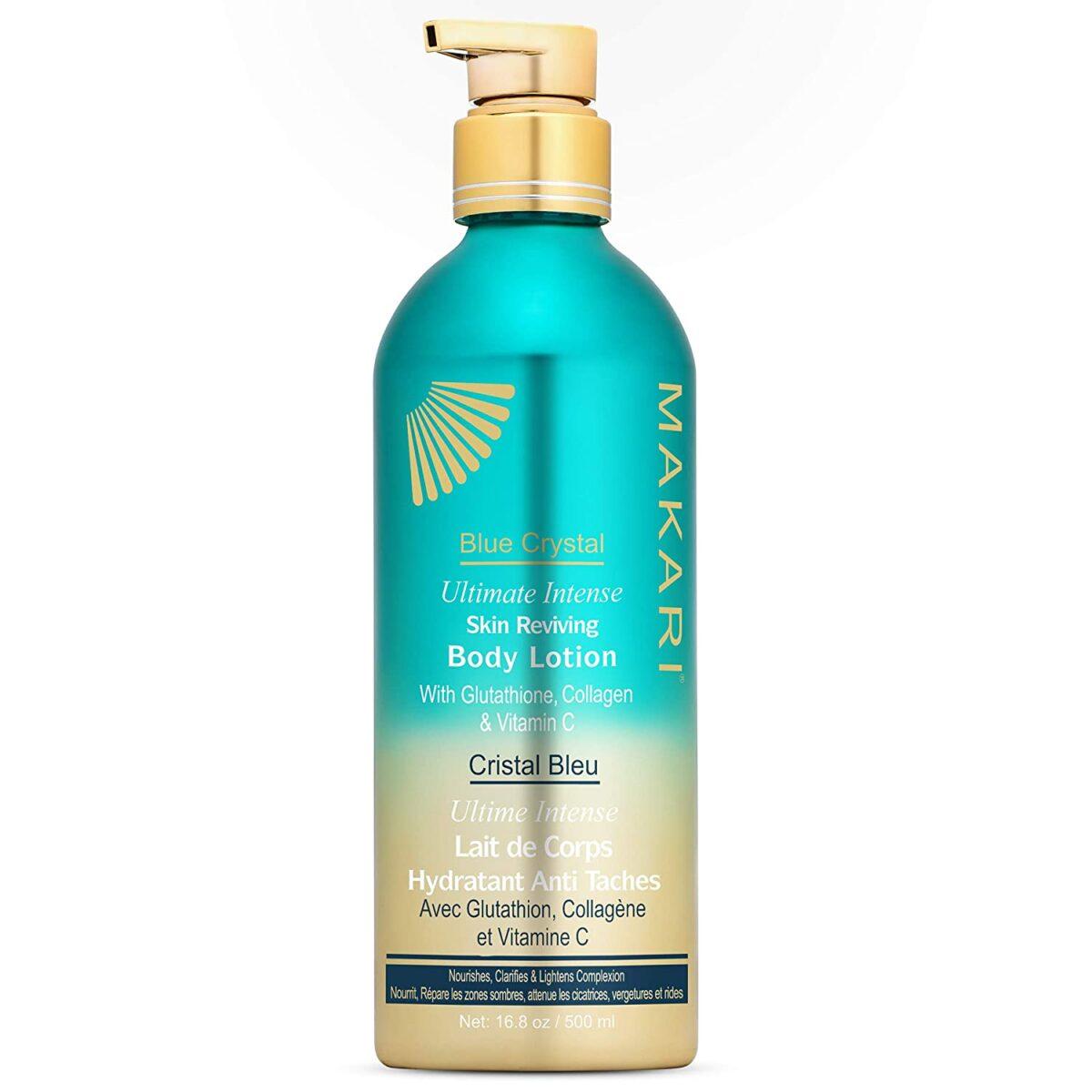 Makari Blue Crystal Reviving Body Lotion 16.8 oz - Lightening, Brightening, Moisturizing Cream with Natural Glutathione